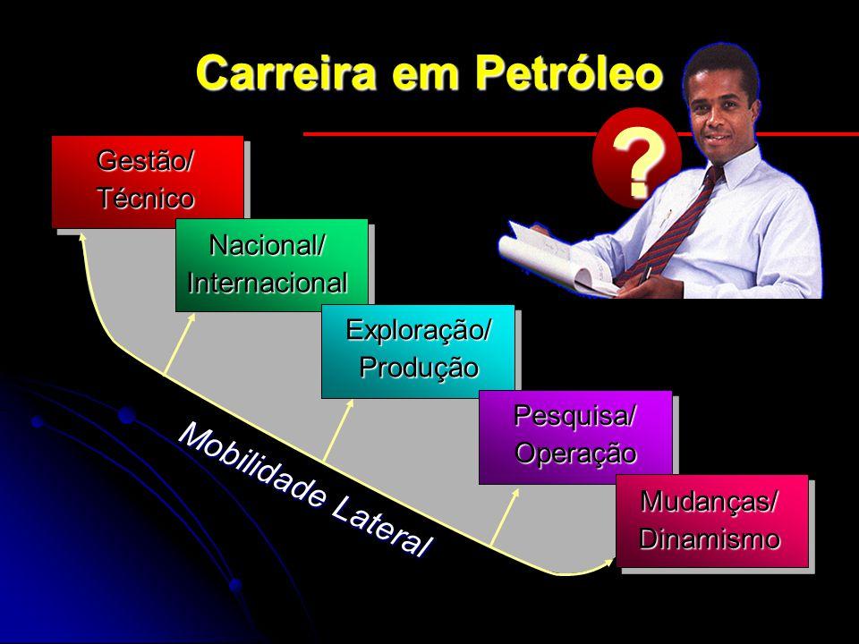 Carreira em Petróleo Gestão/Técnico Nacional/Internacional Exploração/Produção Pesquisa/Operação Mudanças/Dinamismo Mobilidade Lateral ?