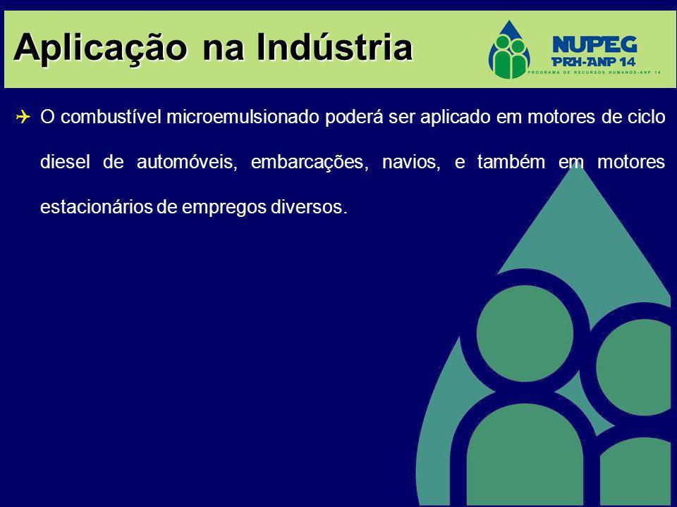 Aplicação na Indústria O combustível microemulsionado poderá ser aplicado em motores de ciclo diesel de automóveis, embarcações, navios, e também em motores estacionários de empregos diversos.