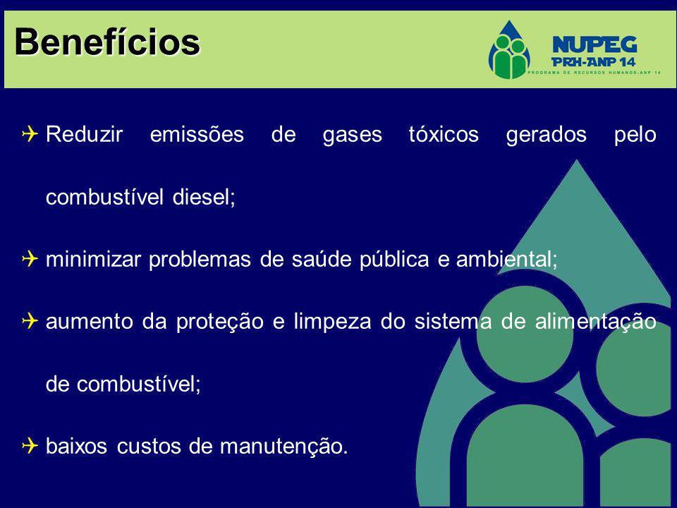 Benefícios Reduzir emissões de gases tóxicos gerados pelo combustível diesel; minimizar problemas de saúde pública e ambiental; aumento da proteção e limpeza do sistema de alimentação de combustível; baixos custos de manutenção.