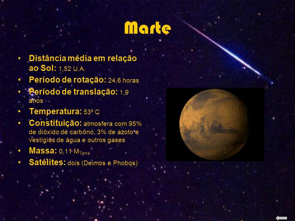 Marte Distância média em relação ao Sol: 1,52 U.A.