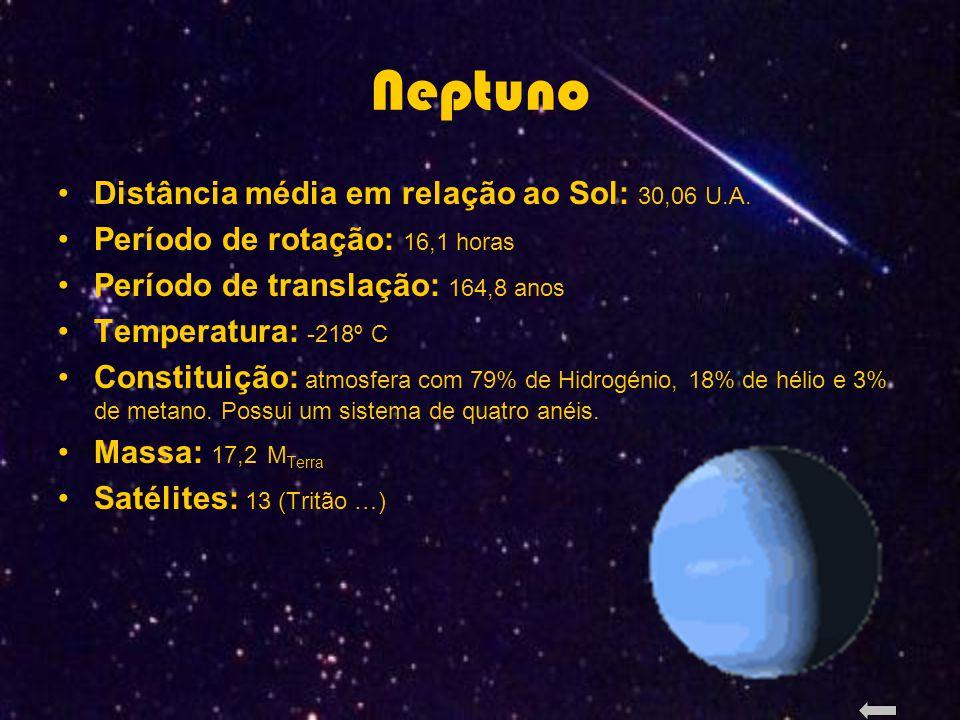 Neptuno Distância média em relação ao Sol: 30,06 U.A.
