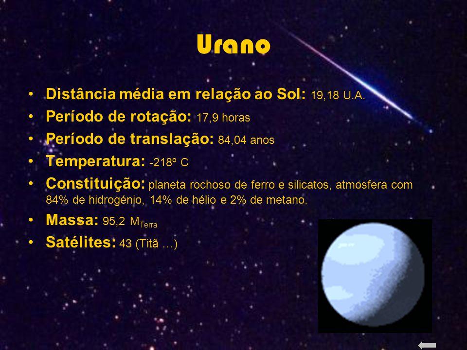 Urano Distância média em relação ao Sol: 19,18 U.A.