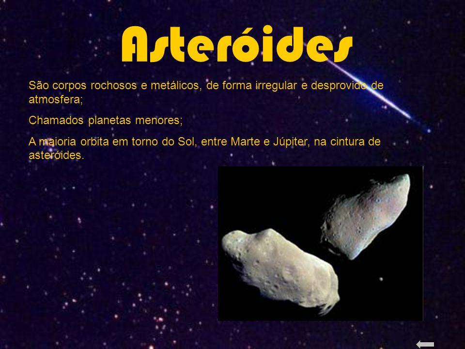 Asteróides São corpos rochosos e metálicos, de forma irregular e desprovido de atmosfera; Chamados planetas menores; A maioria orbita em torno do Sol, entre Marte e Júpiter, na cintura de asteróides.