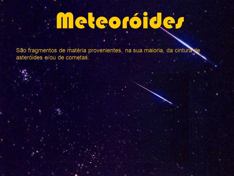Classificação em função do tamanho: Meteoro: meteoróides pequenos que ardem, tornando-se incandescentes quando entram na atmosfera terrestre (Estrelas Cadentes).