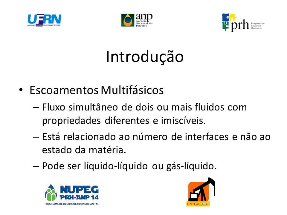 Introdução Escoamentos Multifásicos – Fluxo simultâneo de dois ou mais fluidos com propriedades diferentes e imiscíveis. – Está relacionado ao número