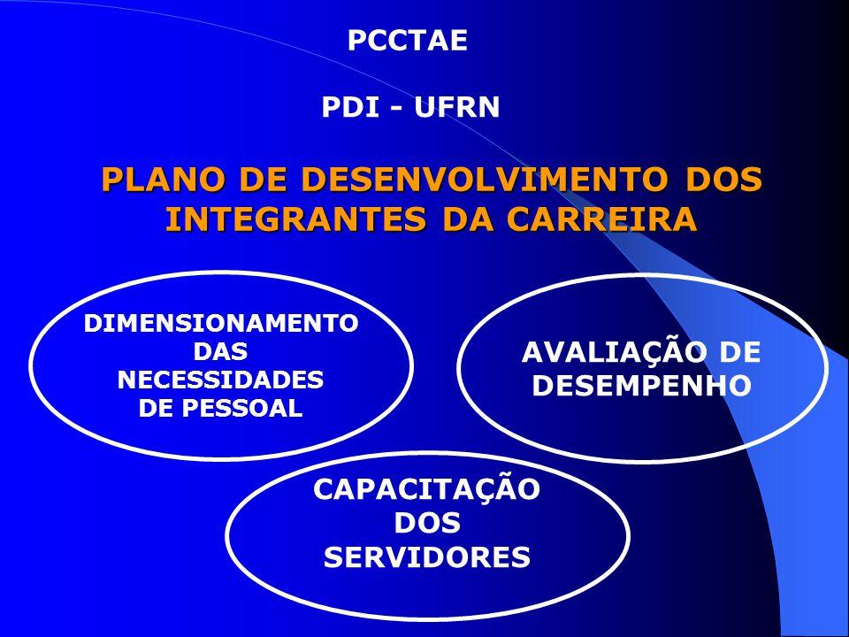 PLANO DE DESENVOLVIMENTO DOS INTEGRANTES DA CARREIRA PCCTAE PDI - UFRN CAPACITAÇÃO DOS SERVIDORES AVALIAÇÃO DE DESEMPENHO DIMENSIONAMENTO DAS NECESSID