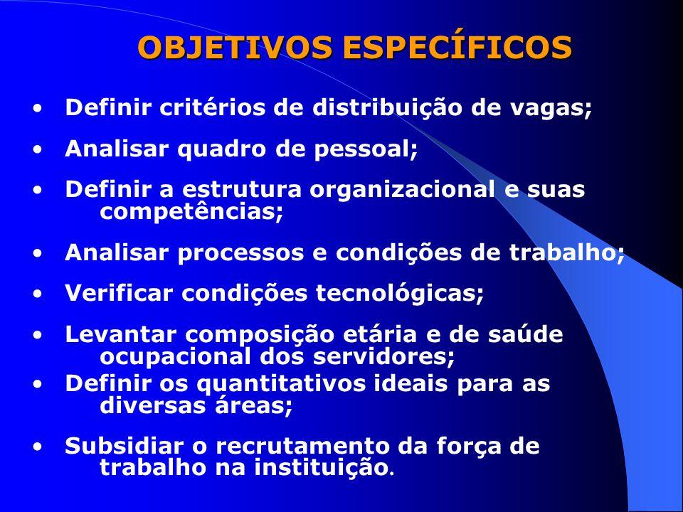 Definir critérios de distribuição de vagas; Analisar quadro de pessoal; Definir a estrutura organizacional e suas competências; Analisar processos e c