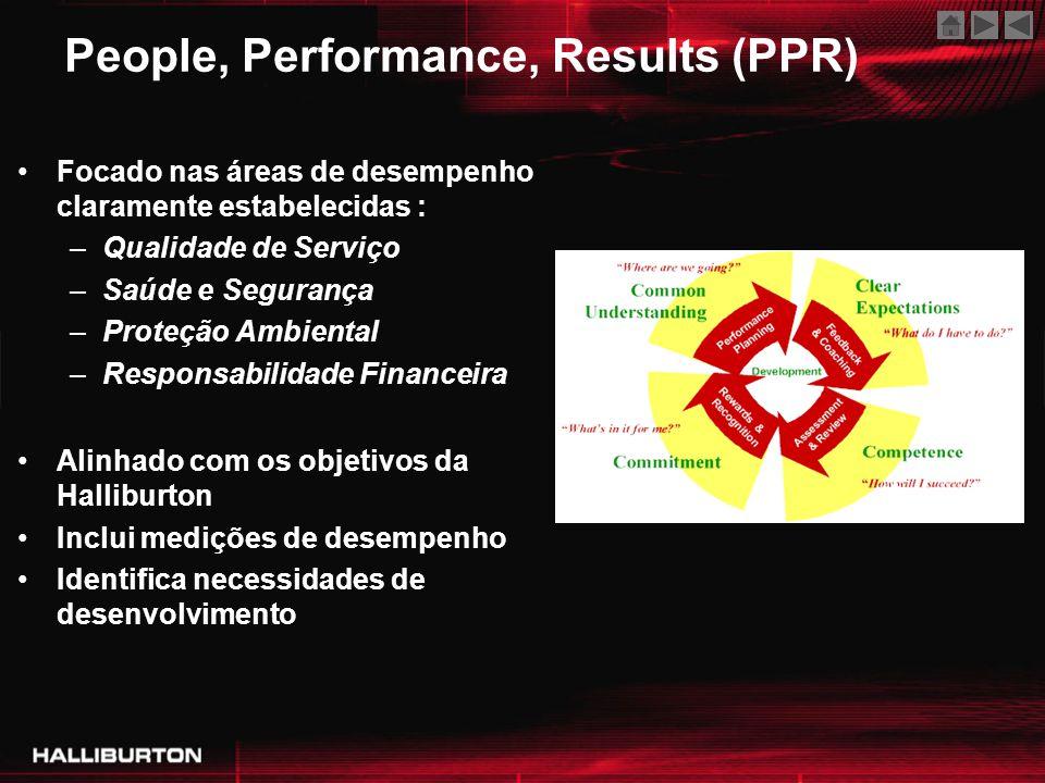 Focado nas áreas de desempenho claramente estabelecidas : –Qualidade de Serviço –Saúde e Segurança –Proteção Ambiental –Responsabilidade Financeira Al