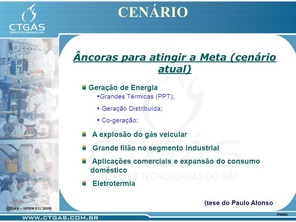 www.ctgas.com.br CTGAS – UFRN 03/2006 PNND CENÁRIO Âncoras para atingir a Meta (cenário atual) Geração de Energia A explosão do gás veicular Grande fi