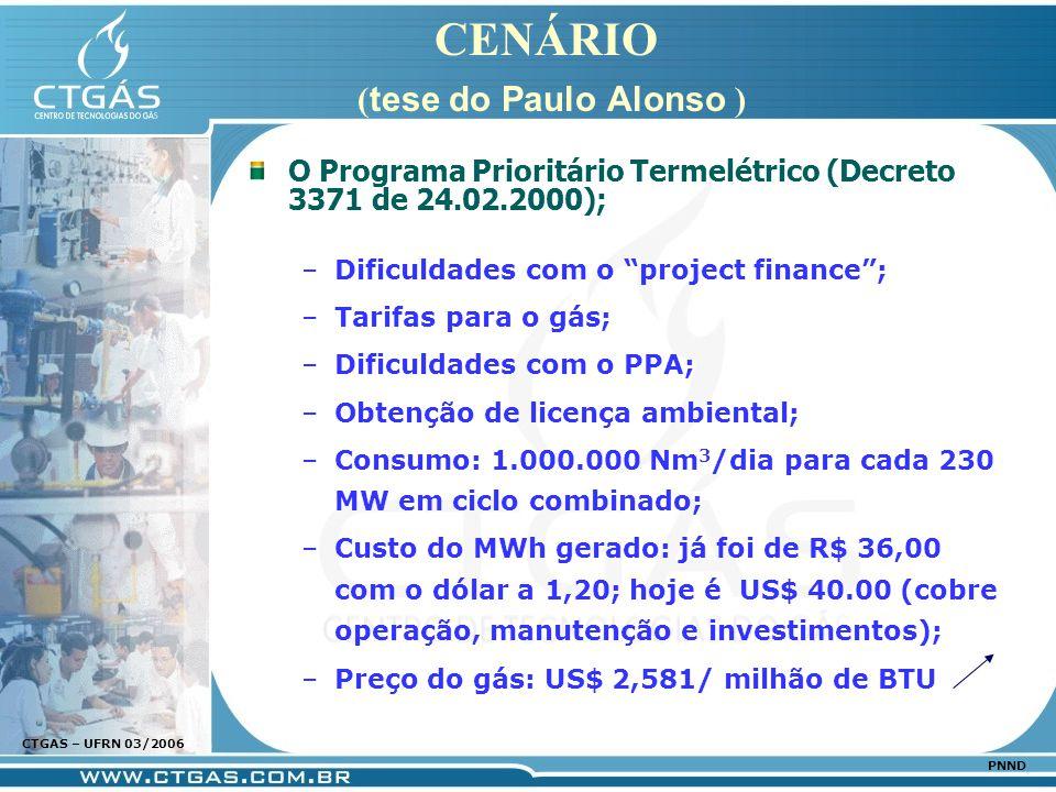 www.ctgas.com.br CTGAS – UFRN 03/2006 PNND CENÁRIO ( tese do Paulo Alonso ) O Programa Prioritário Termelétrico (Decreto 3371 de 24.02.2000); –Dificul