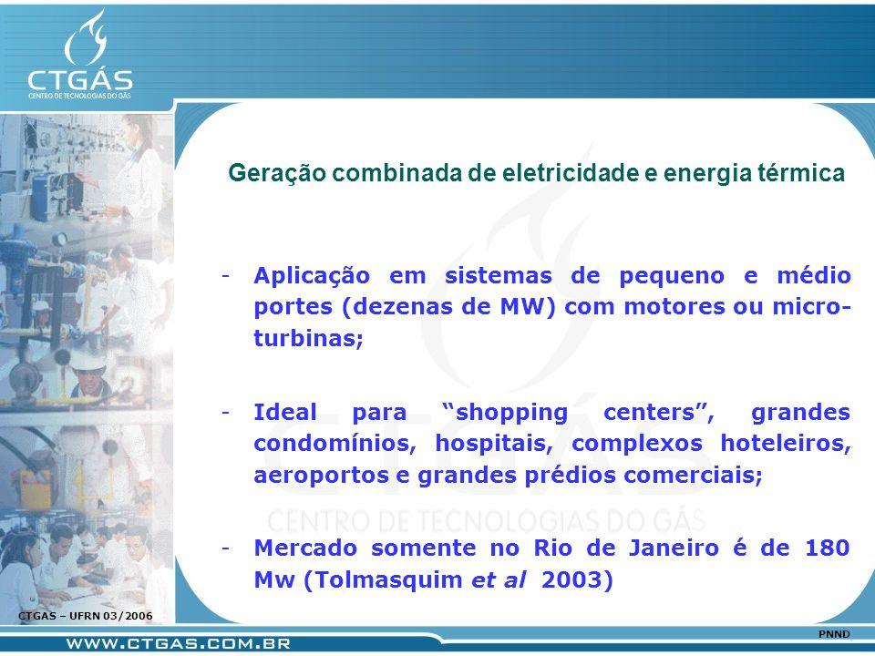www.ctgas.com.br CTGAS – UFRN 03/2006 PNND Aplicação em sistemas de pequeno e médio portes (dezenas de MW) com motores ou micro- turbinas; Ideal par