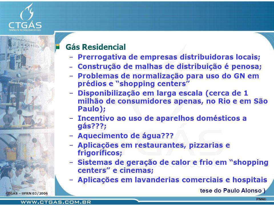 www.ctgas.com.br CTGAS – UFRN 03/2006 PNND Gás Residencial –Prerrogativa de empresas distribuidoras locais; – Construção de malhas de distribuição é p