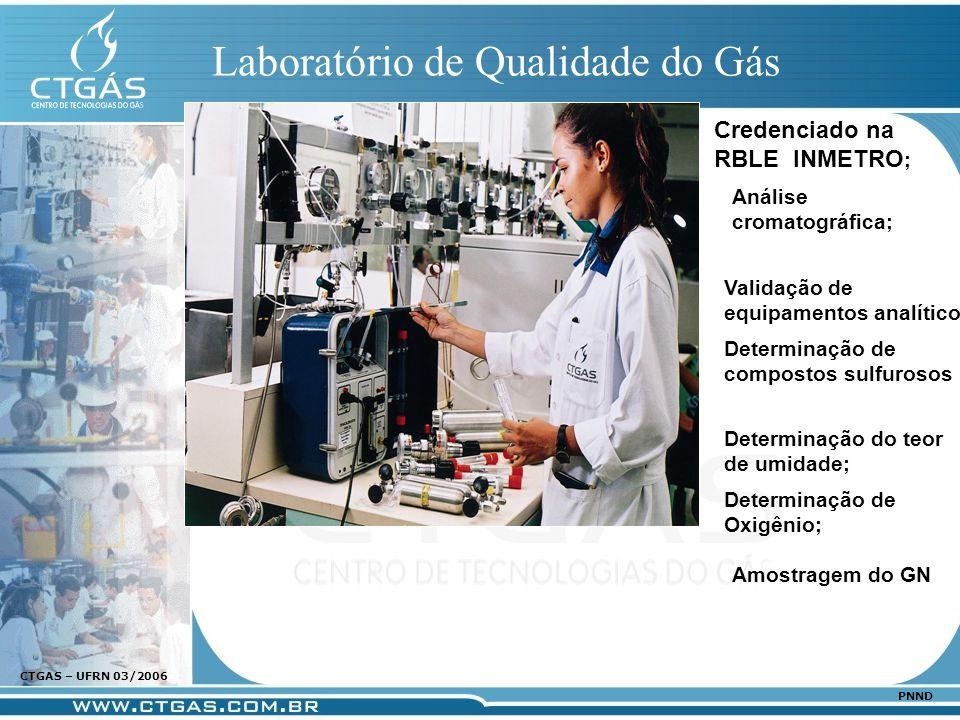 www.ctgas.com.br CTGAS – UFRN 03/2006 PNND Laboratório de Qualidade do Gás Credenciado na RBLE INMETRO ; Análise cromatográfica; Determinação de compo