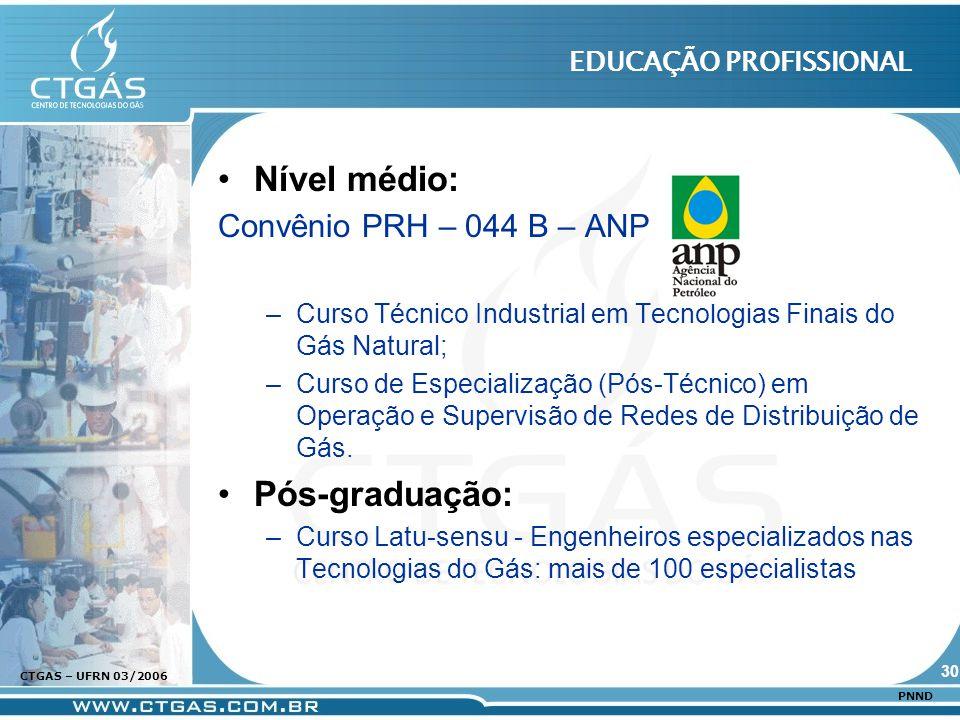 www.ctgas.com.br CTGAS – UFRN 03/2006 PNND EDUCAÇÃO PROFISSIONAL Nível médio: Convênio PRH – 044 B – ANP –Curso Técnico Industrial em Tecnologias Fina