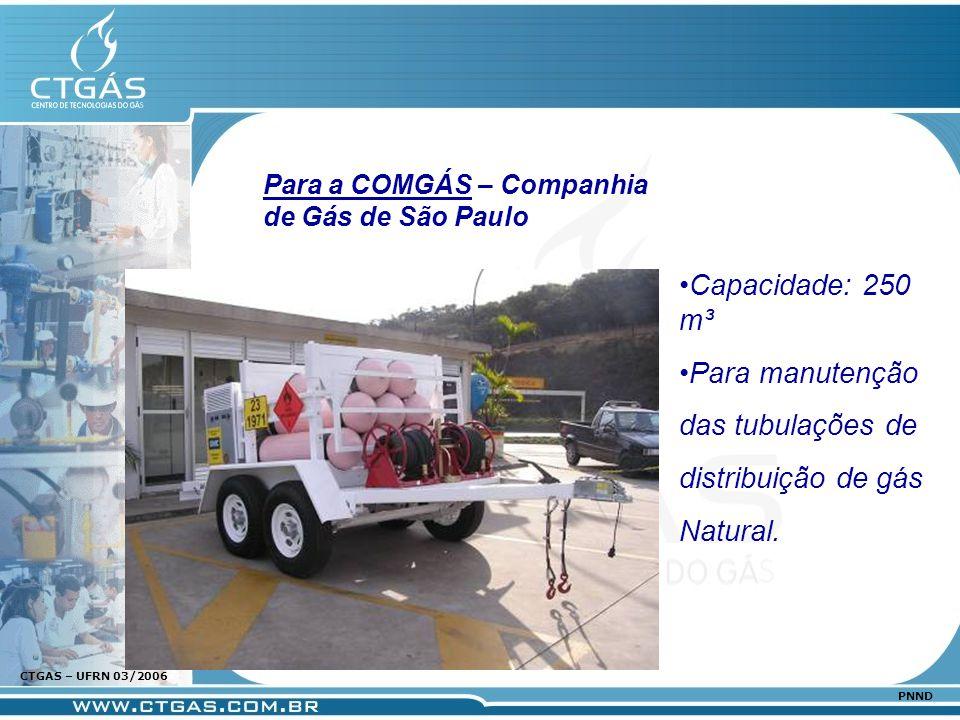 www.ctgas.com.br CTGAS – UFRN 03/2006 PNND Capacidade: 250 m³ Para manutenção das tubulações de distribuição de gás Natural. Para a COMGÁS – Companhia