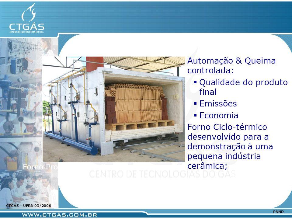 www.ctgas.com.br CTGAS – UFRN 03/2006 PNND Automação & Queima controlada: Qualidade do produto final Emissões Economia Forno Ciclo-térmico desenvolvid