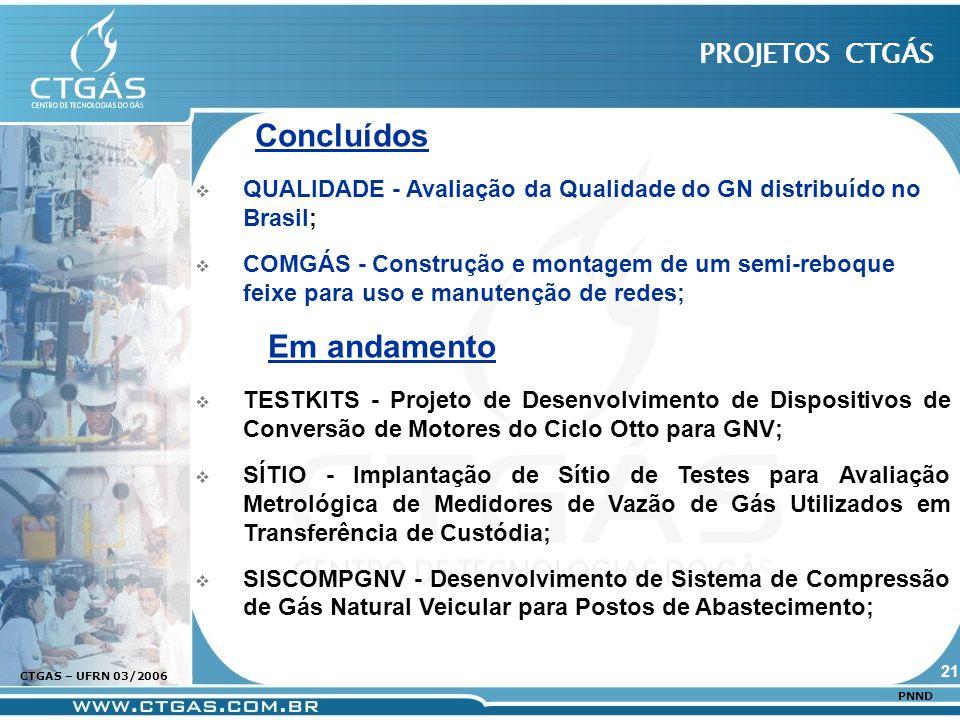 www.ctgas.com.br CTGAS – UFRN 03/2006 PNND Concluídos QUALIDADE - Avaliação da Qualidade do GN distribuído no Brasil; COMGÁS - Construção e montagem d
