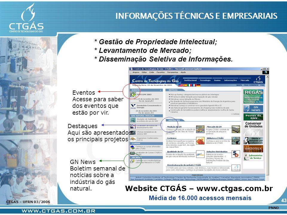 www.ctgas.com.br CTGAS – UFRN 03/2006 PNND INFORMAÇÕES TÉCNICAS E EMPRESARIAIS Website CTGÁS – www.ctgas.com.br GN News Boletim semanal de notícias so