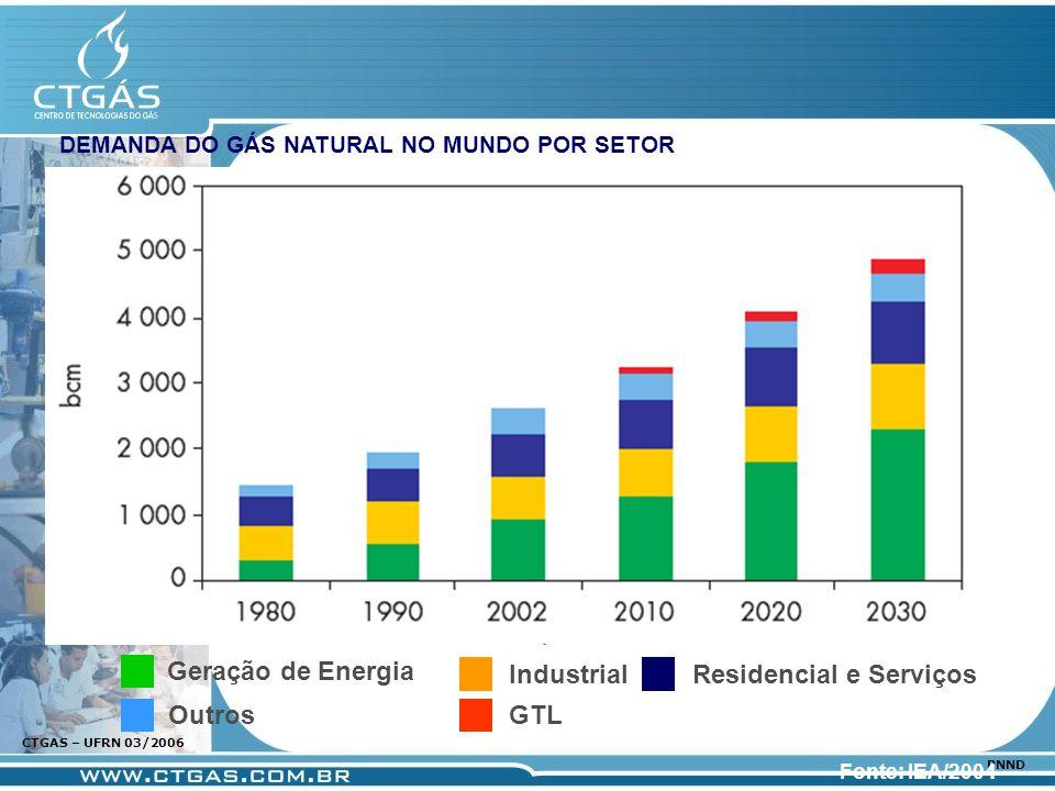 www.ctgas.com.br CTGAS – UFRN 03/2006 PNND DEMANDA DO GÁS NATURAL NO MUNDO POR SETOR Fonte: IEA/2004 Geração de Energia Industrial Outros Residencial