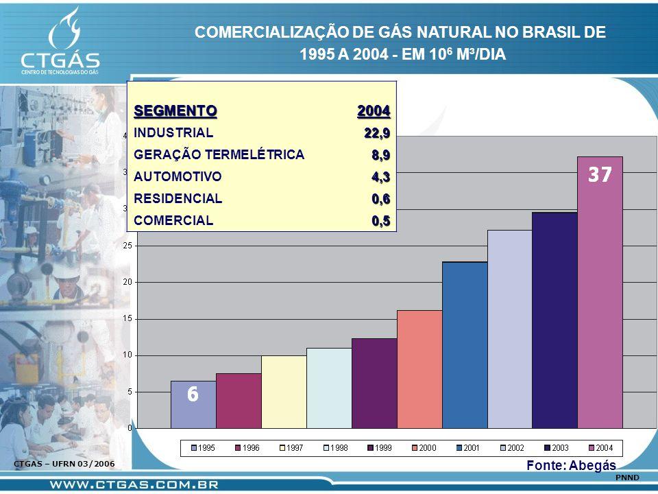 www.ctgas.com.br CTGAS – UFRN 03/2006 PNND COMERCIALIZAÇÃO DE GÁS NATURAL NO BRASIL DE 1995 A 2004 - EM 10 6 M³/DIA Fonte: AbegásSEGMENTO2004 INDUSTRI