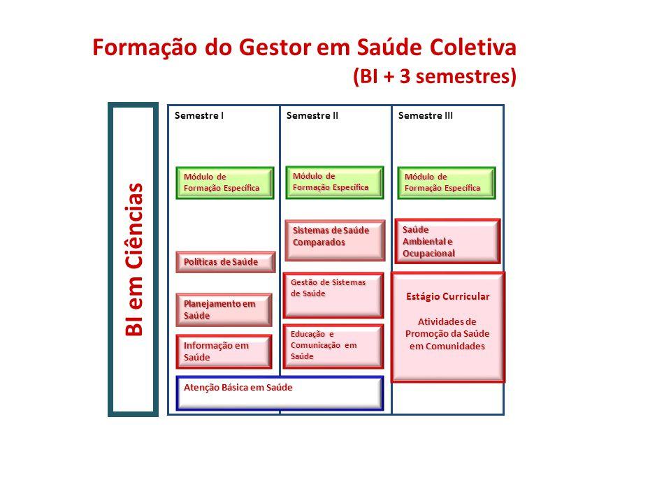 Educação e Comunicação em Saúde Formação do Gestor em Saúde Coletiva (BI + 3 semestres) BI em Ciências Módulo de Formação Específica Saúde Ambiental e