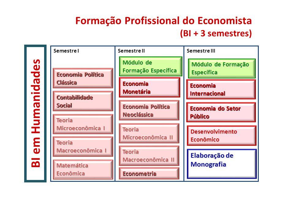 Formação Profissional do Economista (BI + 3 semestres) BI em Humanidades Semestre ISemestre IIISemestre II Teoria Microeconômica II Teoria Microeconôm