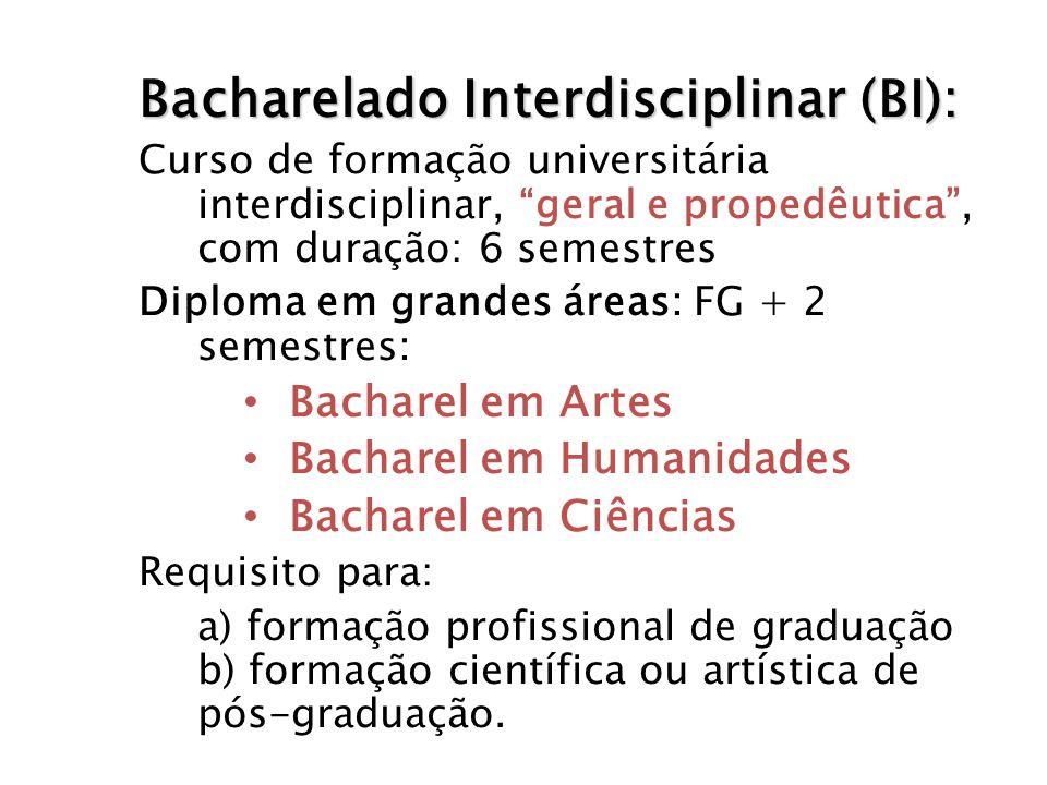 Bacharelado Interdisciplinar (BI): Curso de formação universitária interdisciplinar, geral e propedêutica, com duração: 6 semestres Diploma em grandes