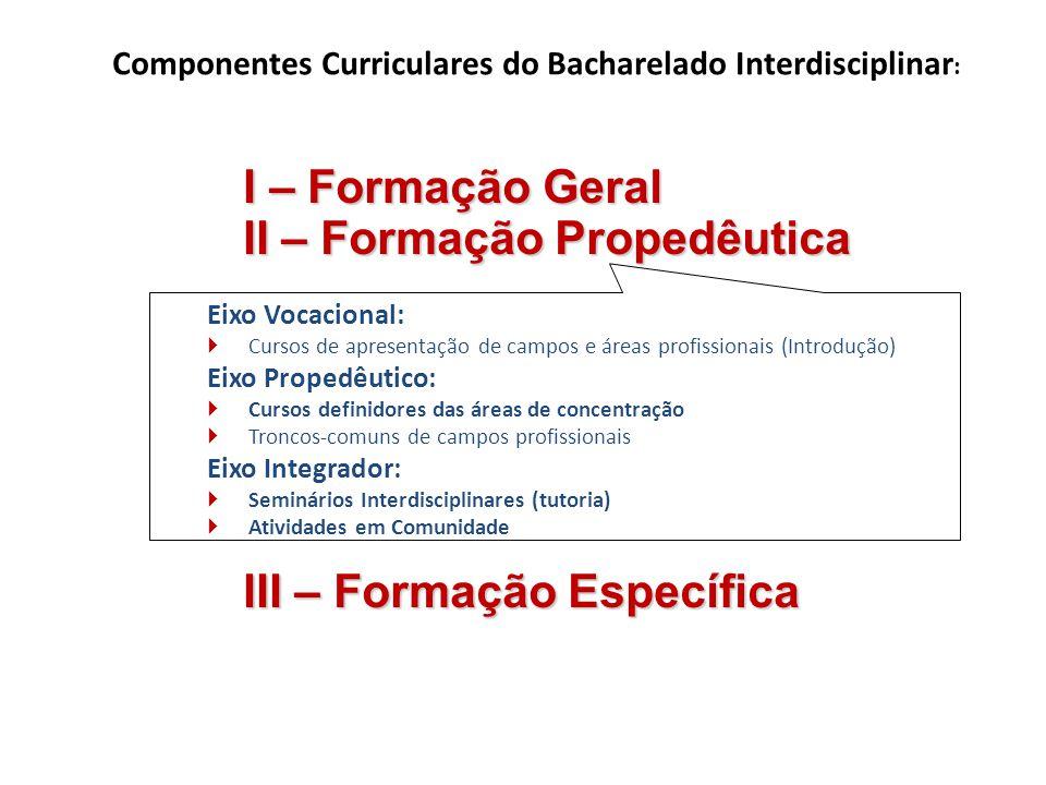 Eixo Vocacional: Cursos de apresentação de campos e áreas profissionais (Introdução) Eixo Propedêutico: Cursos definidores das áreas de concentração T