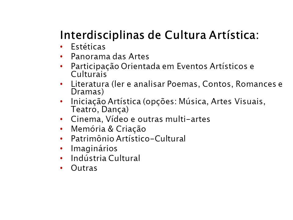 Interdisciplinas de Cultura Artística: Estéticas Panorama das Artes Participação Orientada em Eventos Artísticos e Culturais Literatura (ler e analisa