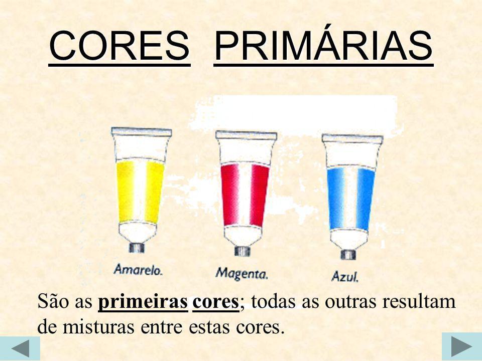 CORES PRIMÁRIAS São as primeiras cores; todas as outras resultam de misturas entre estas cores.