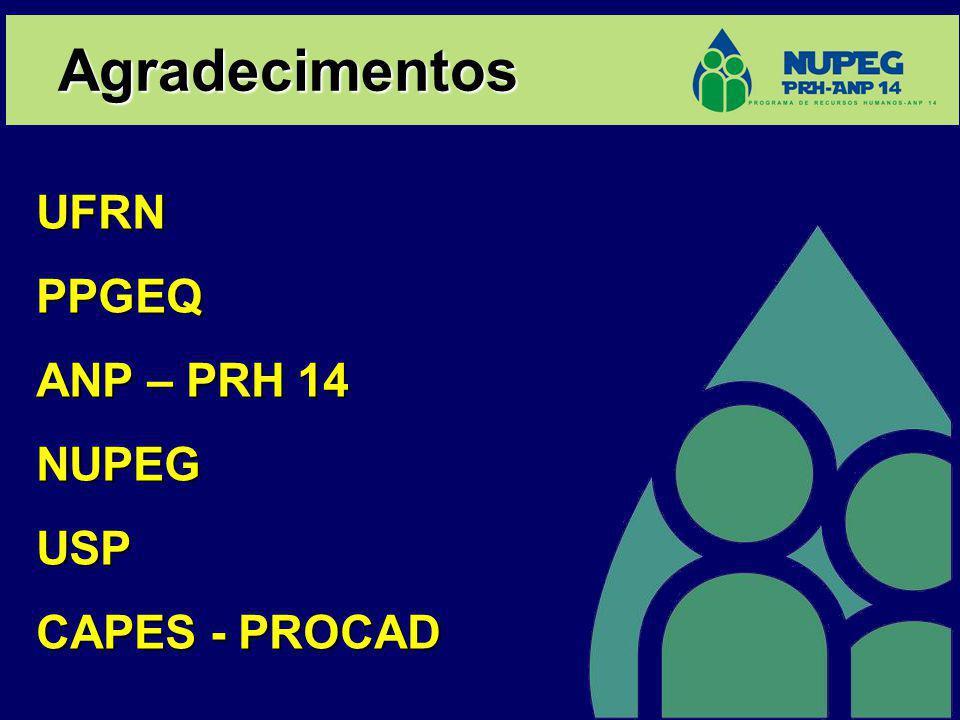 Agradecimentos UFRNPPGEQ ANP – PRH 14 NUPEGUSP CAPES - PROCAD