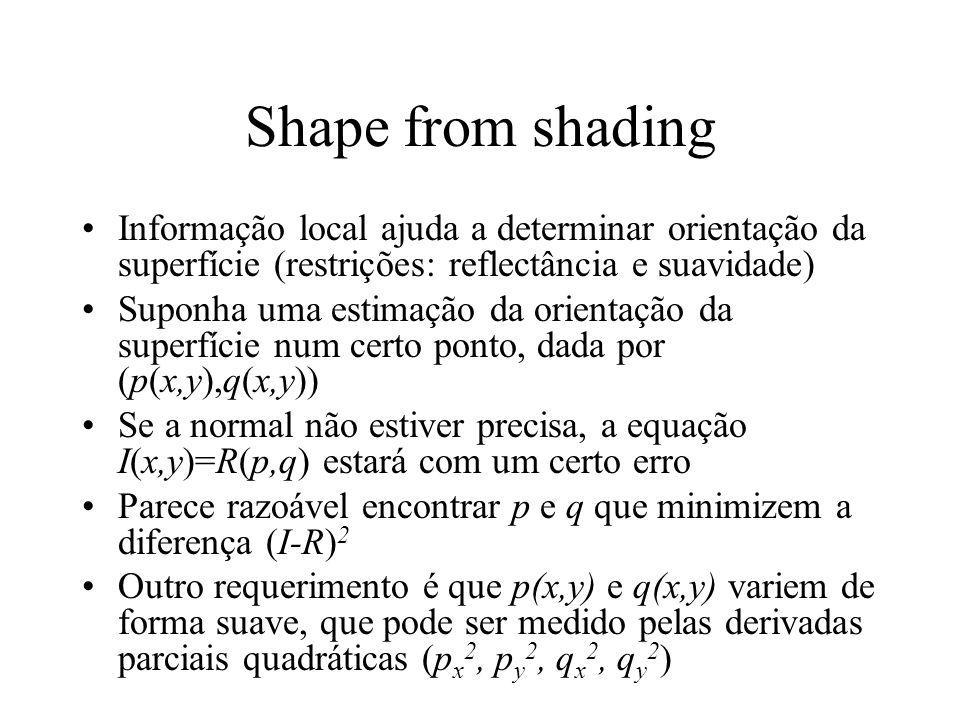 Shape from shading Informação local ajuda a determinar orientação da superfície (restrições: reflectância e suavidade) Suponha uma estimação da orient