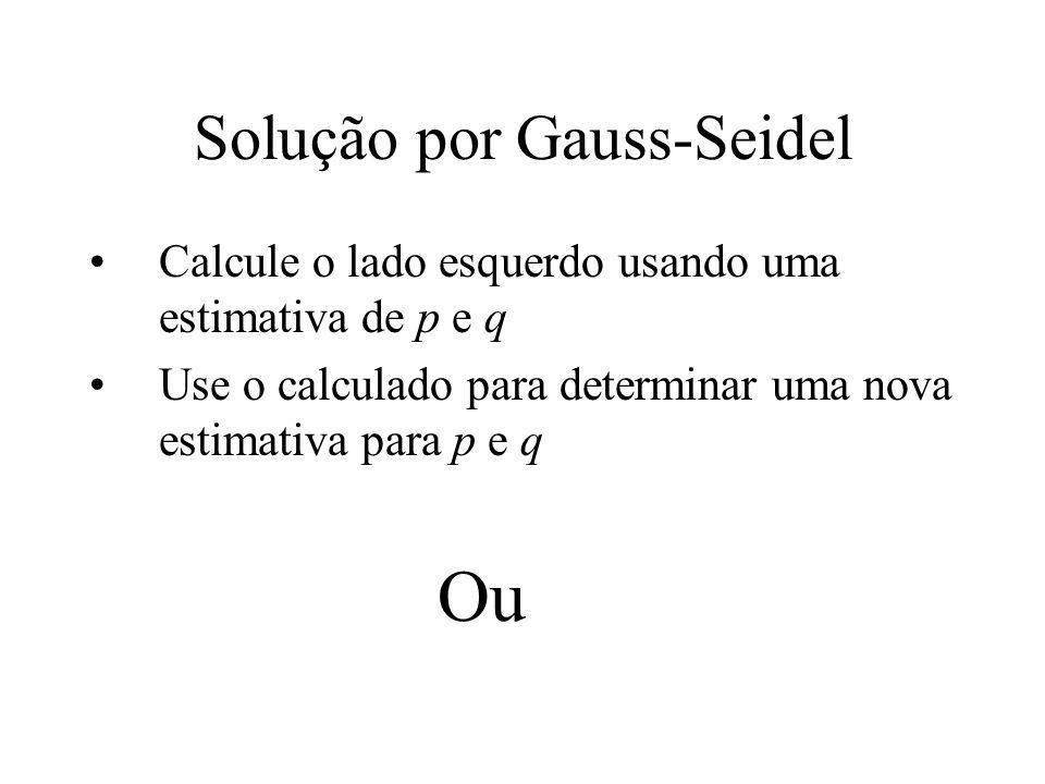Solução por Gauss-Seidel Calcule o lado esquerdo usando uma estimativa de p e q Use o calculado para determinar uma nova estimativa para p e q Ou