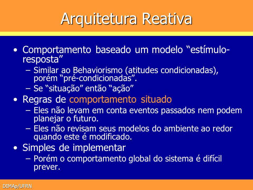 DIMAp/UFRN Arquitetura Reativa Comportamento baseado um modelo estímulo- resposta –Similar ao Behaviorismo (atitudes condicionadas), porém pré-condici