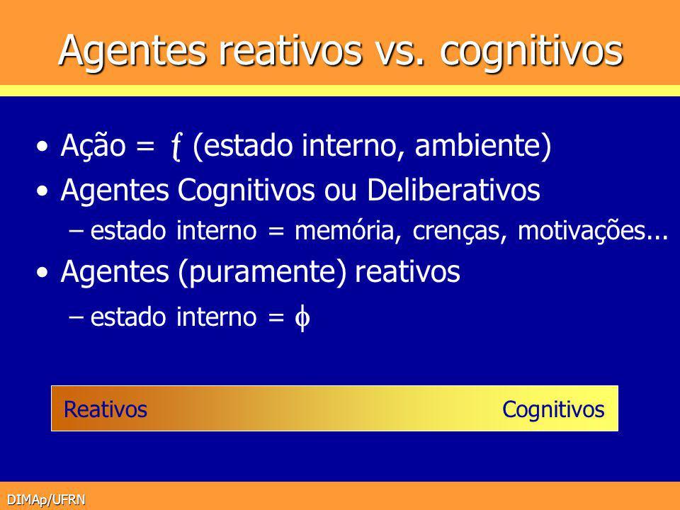 DIMAp/UFRN Agentes reativos vs. cognitivos Ação = (estado interno, ambiente) Agentes Cognitivos ou Deliberativos –estado interno = memória, crenças, m