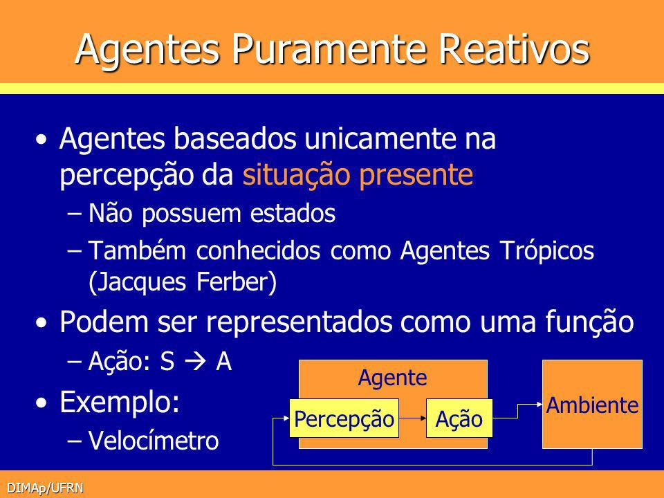 DIMAp/UFRN Agentes Puramente Reativos Agentes baseados unicamente na percepção da situação presente –Não possuem estados –Também conhecidos como Agent