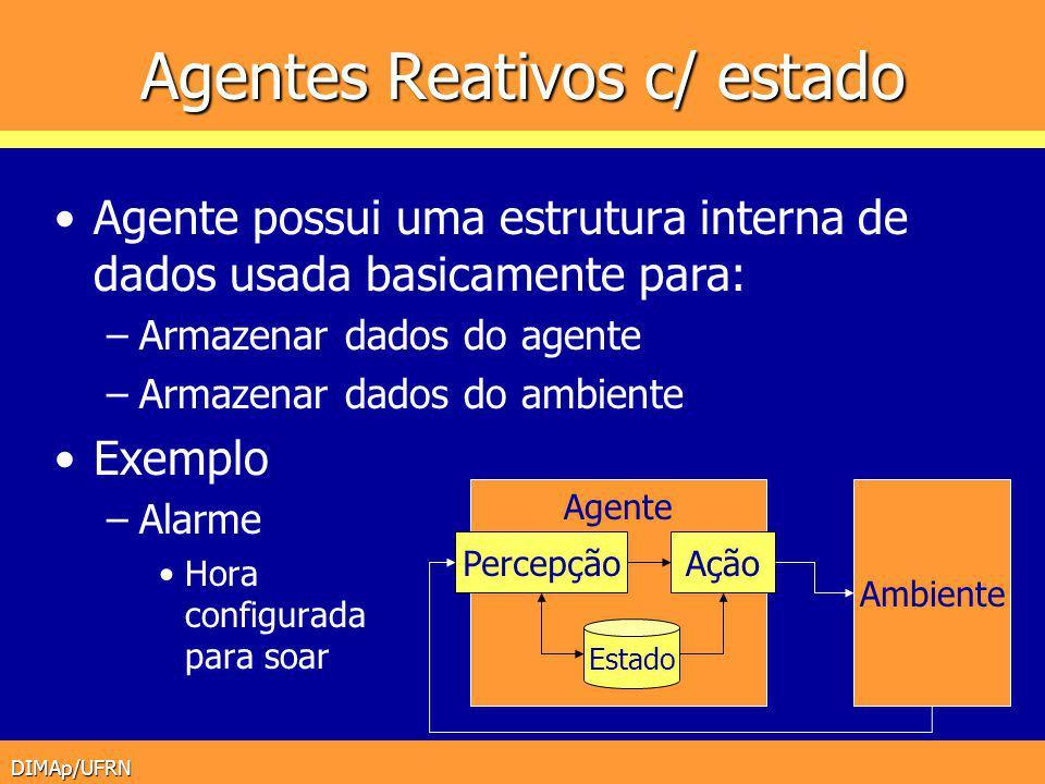 DIMAp/UFRN Agentes Reativos c/ estado Agente possui uma estrutura interna de dados usada basicamente para: –Armazenar dados do agente –Armazenar dados