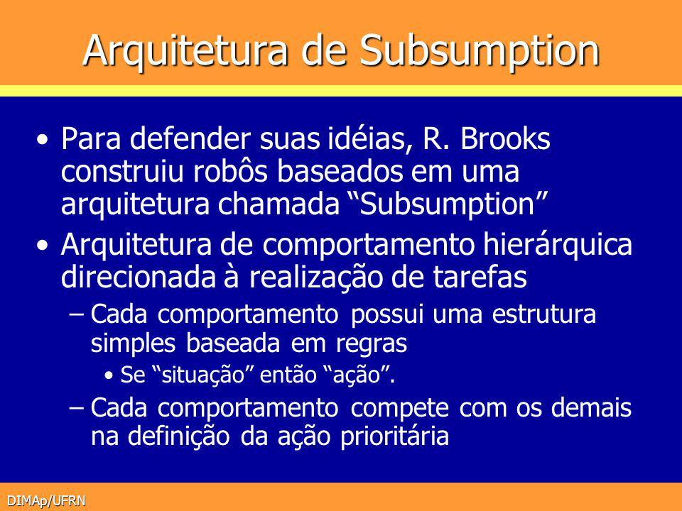 DIMAp/UFRN Arquitetura de Subsumption Para defender suas idéias, R. Brooks construiu robôs baseados em uma arquitetura chamada Subsumption Arquitetura