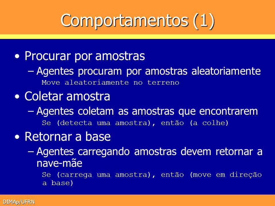 DIMAp/UFRN Comportamentos (1) Procurar por amostras –Agentes procuram por amostras aleatoriamente Move aleatoriamente no terreno Coletar amostra –Agen