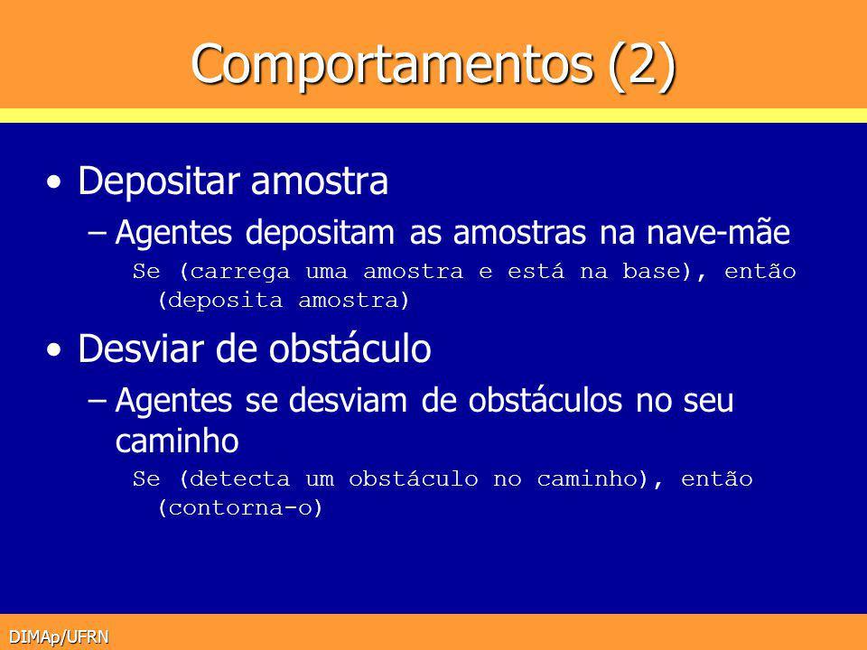DIMAp/UFRN Comportamentos (2) Depositar amostra –Agentes depositam as amostras na nave-mãe Se (carrega uma amostra e está na base), então (deposita am
