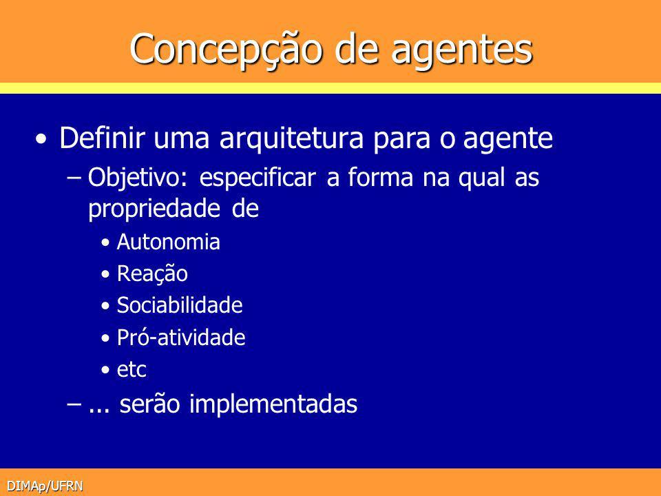 DIMAp/UFRN Concepção de agentes Definir uma arquitetura para o agente –Objetivo: especificar a forma na qual as propriedade de Autonomia Reação Sociab