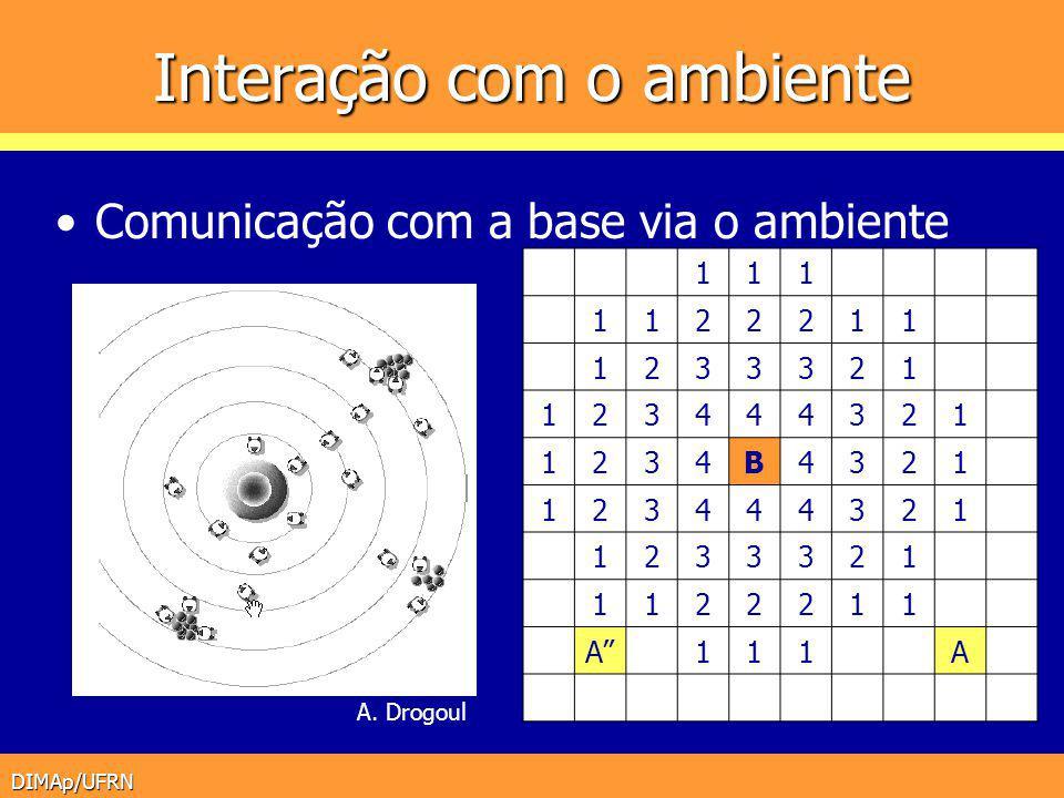 DIMAp/UFRN Interação com o ambiente Comunicação com a base via o ambiente A. Drogoul 111 1122211 1233321 123444321 1234B4321 123444321 1233321 1122211