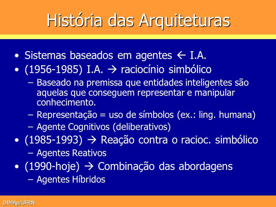DIMAp/UFRN História das Arquiteturas Sistemas baseados em agentes I.A. (1956-1985) I.A. raciocínio simbólico –Baseado na premissa que entidades inteli