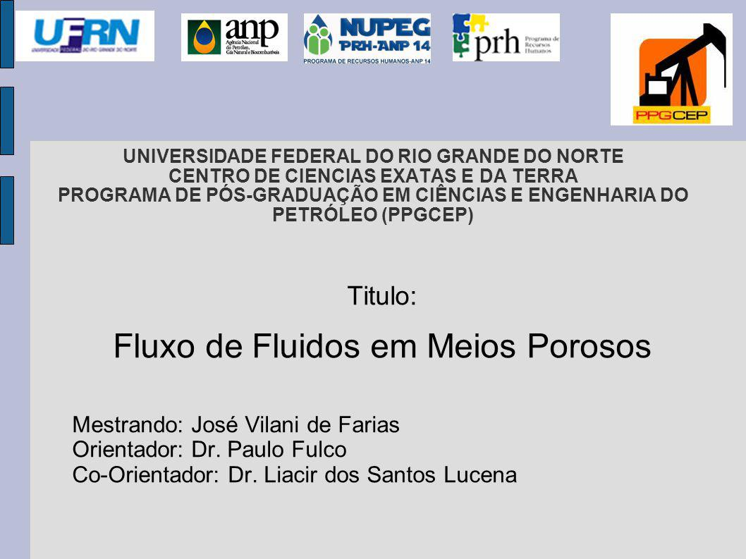 UNIVERSIDADE FEDERAL DO RIO GRANDE DO NORTE CENTRO DE CIENCIAS EXATAS E DA TERRA PROGRAMA DE PÓS-GRADUAÇÃO EM CIÊNCIAS E ENGENHARIA DO PETRÓLEO (PPGCEP) Titulo: Fluxo de Fluidos em Meios Porosos Mestrando: José Vilani de Farias Orientador: Dr.
