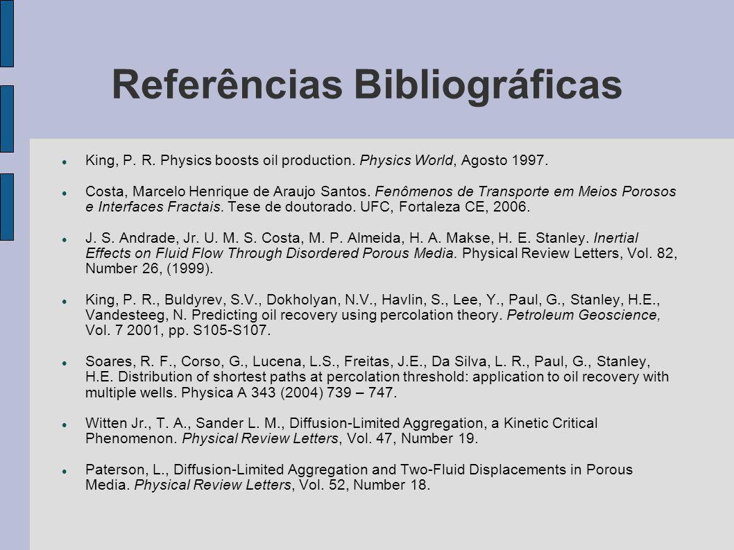 Referências Bibliográficas King, P. R. Physics boosts oil production. Physics World, Agosto 1997. Costa, Marcelo Henrique de Araujo Santos. Fenômenos