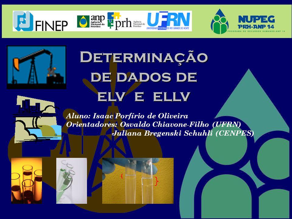 Determinação de dados de elv e ellv Aluno: Isaac Porfírio de Oliveira Orientadores: Osvaldo Chiavone-Filho (UFRN) Juliana Bregenski Schuhli (CENPES)