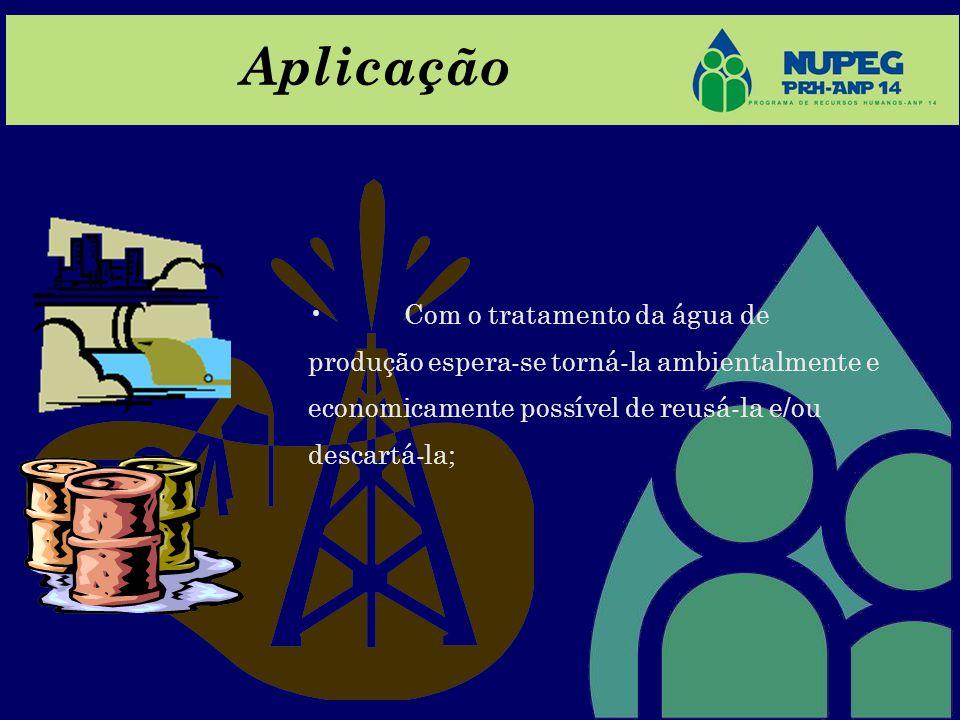 Aplicação Com o tratamento da água de produção espera-se torná-la ambientalmente e economicamente possível de reusá-la e/ou descartá-la;