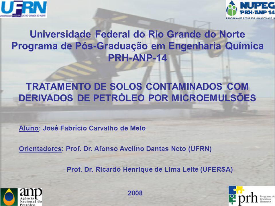 MOTIVAÇÃO A contaminação de solos por produtos petrolíferos oriundos de derramamentos acidentais; Bioremediação; Processo Fenton; A Injeção de Vapor; Lavagem com Soluções Surfactantes.