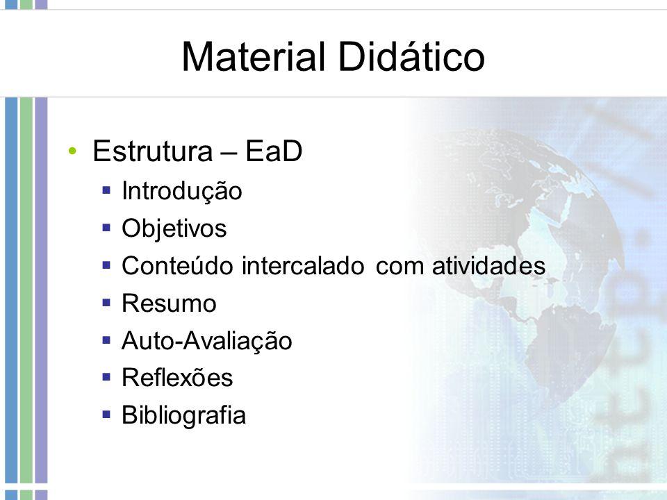 Material Didático Estrutura – EaD Introdução Objetivos Conteúdo intercalado com atividades Resumo Auto-Avaliação Reflexões Bibliografia