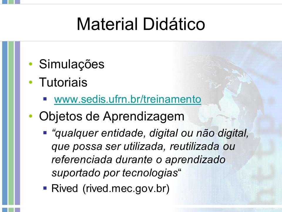 Material Didático Simulações Tutoriais www.sedis.ufrn.br/treinamento Objetos de Aprendizagem qualquer entidade, digital ou não digital, que possa ser
